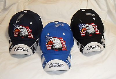 American Flag USA Bald Eagle Patriotic Hat Baseball Cap Embroidered Eagle & - Patriotic Hat