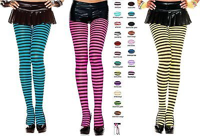 Striped Pantyhose (Opaque Gothic Punk Thin Small Stripe Full Stocking Full Pantyhose Costume)