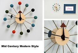 Mid Century Modern Style Multi Color Wood Wall Clock  George Nelson & Eames Era