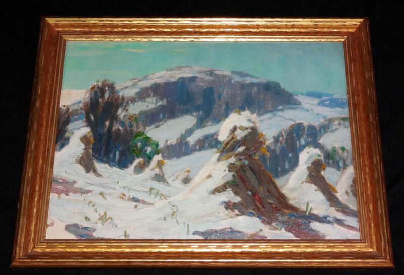 "1947 American Oil Painting ""snowy Haystacks, Upstate Ny"" By Carl W. Peters (jos"