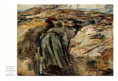 Guard trail west wall WW 2 Germany XL 1941 print by Erhard Erdmann Wehrmacht +