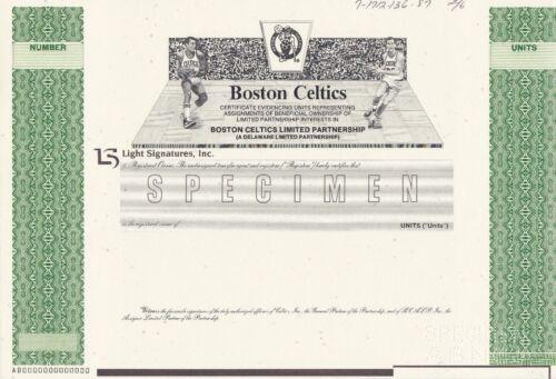 BOSTON CELTICS SPECIMEN STOCK CERTIFICATE 1987 RARE BASKETBALL SPORTS MINT