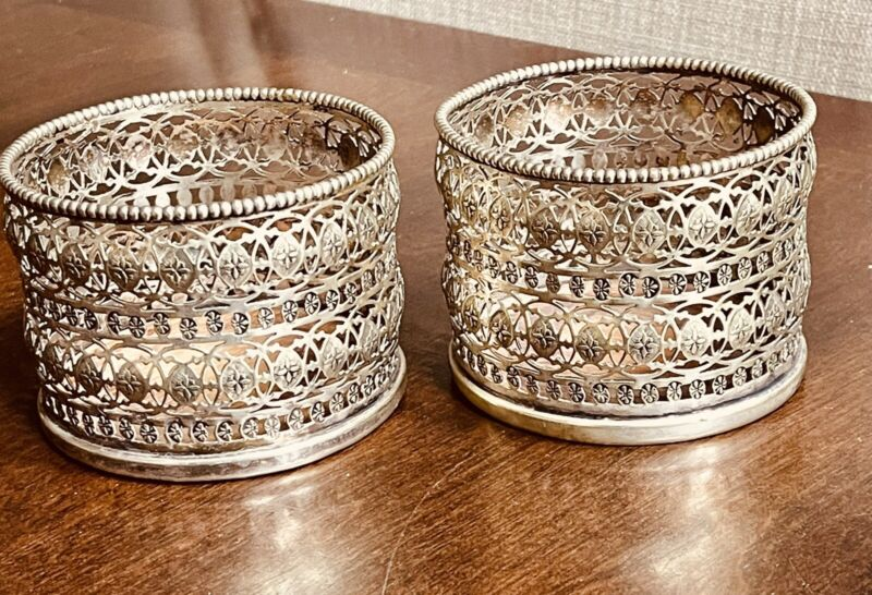 """Antique Pair Silver Plated Wine Champagne Bottle Coasters  3""""x4"""""""