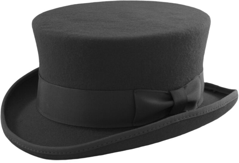 Unisex Gentleman Deadman Short Topper Wedding Ascot Event 100% Wool Hat