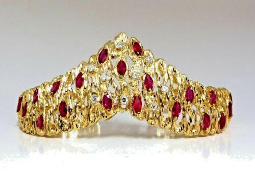 6.00ct Natural Ruby Diamond Coral Patina Chevron Cuff Bracelet 18 Karat