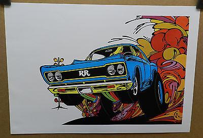 1968 PLYMOUTH ROAD RUNNER MOPAR DRAG RACING RR 68 CARTOON WB HEART DEALER POSTER