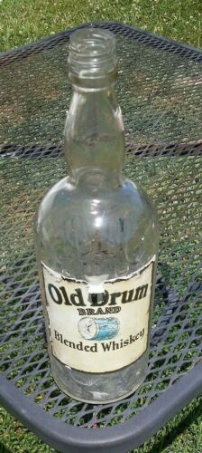 """Rare Vintage """"Old Drum"""" 1 Qt Whiskey Bottle Relay Maryland"""