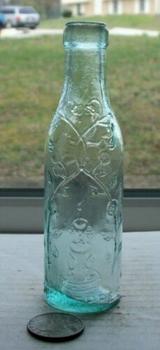 VICTORIAN PICTURAL SAMPLE EMBOSSED,SCHWEPPES ( PICTURE OF A FOUNTAIN WITH FLOWER