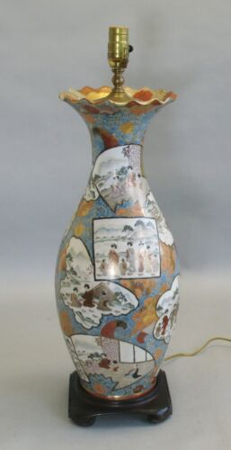 "Superb 19th C. Imperial Satsuma 21"" Tall Vase As Lamp  Japanese Art Pottery"