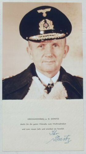 Karl Donitz German Naval Commander WW II Signed Autograph Note Card