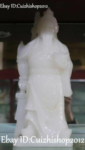 "12"" Natural White Jade Dragon Sword Guangong Guan Gong Yu Warrior God Sculpture"