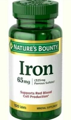 Big 100-ct Bottle of NATURE'S BOUNTY IRON (65 mg) Mineral Supplement Exp 10/21 100 Mg Minerals