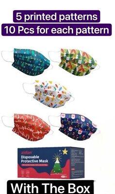 50 PCS Christmas Face Mask Mouth & Nose Protector Respirator Masks USA Seller