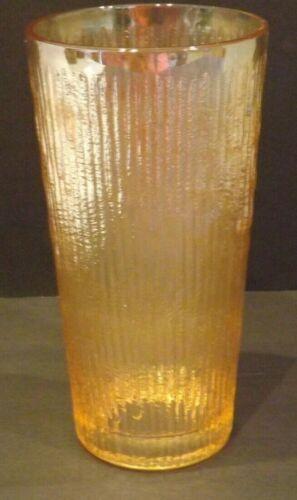 Vtg Jeannette Tree Bark Marigold Amber Carnival Glass Tumbler Iridescent Ribbed