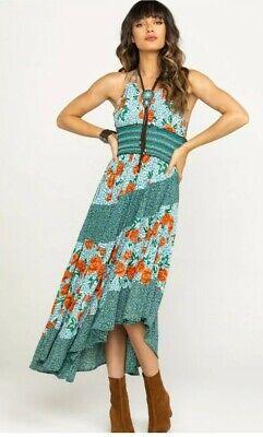 NWT Free People Gabriela Maxi Slip Halter Dress Blue Combo Floral M MSRP $118 Halter Slip Dress