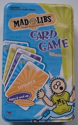 Pre-Owned MAD LIBS Card Game in Tin Storage Box - Very Little Prior Usage Age 8+