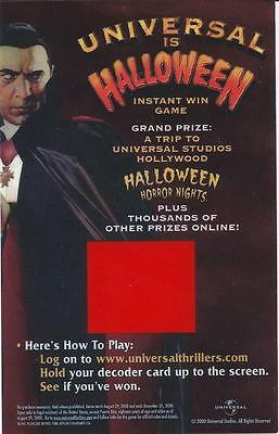 UNIVERSAL HALLOWEEN HORROR NIGHTS INSTANT WIN GAME DECODER  DRACULA BELA LUGOSI