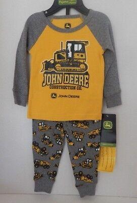 John Deere Sleepware Pajamas Pjs Boys Size 12M 12 Months Yellow & Gray Print - Boys Sleepware