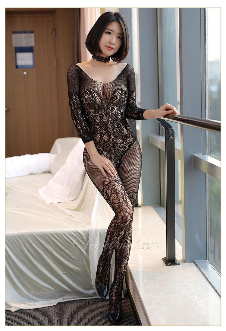 18d045aff Women Lingerie Mesh Long Sleeve Lace Jacquard Open Crotct Stockings  Bodysuits
