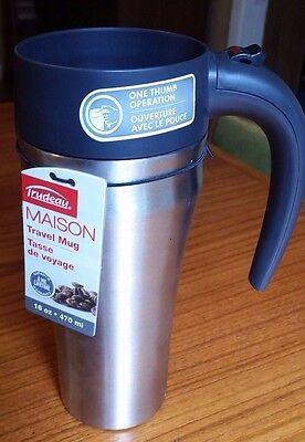 Trudeau Travel Mug (Trudeau Journey Maison Travel Mug 16oz Black lid Stainless Mug )