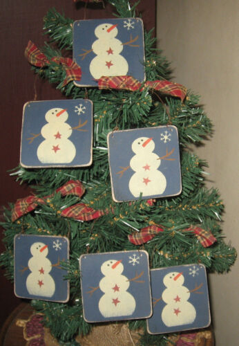 PRIMITIVE COUNTRY LITTLE SIGN ORNIES WITH SNOWMAN set of 6