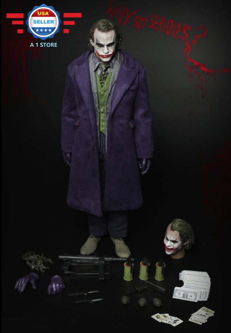 как выглядит Видеоигра или игра связанная с телевидением, кино 【IN STOCK】1/6 Joker Heath Ledger BATMAN THE DARK KNIGHT Figure Set  w/ 2 HEADS фото