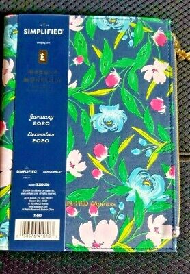 Emily Ley Simplified Refillable Weekly Monthly Tabbed Planner Floral Zipper New