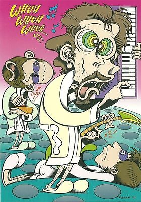 THE FLAMING LIPS by Pete Bagge 2003 art print postcard from MOJO music magazine