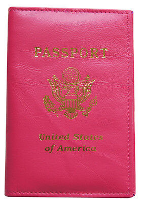 Pink Leather US Passport Cover ID Holder Wallet Travel Case Handmade