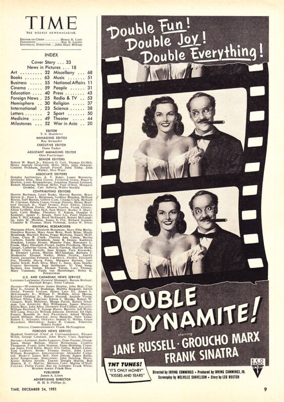 """1951 Groucho Marx Jane Russell photo """"Double Dynamite"""" Movie promo print ad"""