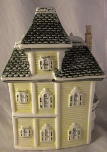 "Victorian House Cookie Jar Canister PORCELAIN POTTERY HEAVY DUTY 10 "" HIGH YELL"