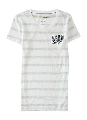 NEW Aeropostale Women's White & Gray Reverse Striped Embroidered T-Shirt (A1-26) Grays Embroidered T-shirt