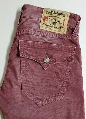 True Religion Mens Ricky Distressed Red Micro Corduroy Straight Jean Size 31 -
