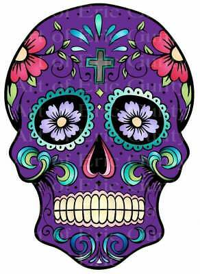 Purple Sugar Skull Halloween ~ Edible 2D Fondant Cake Cupcake Topper ~ D22660