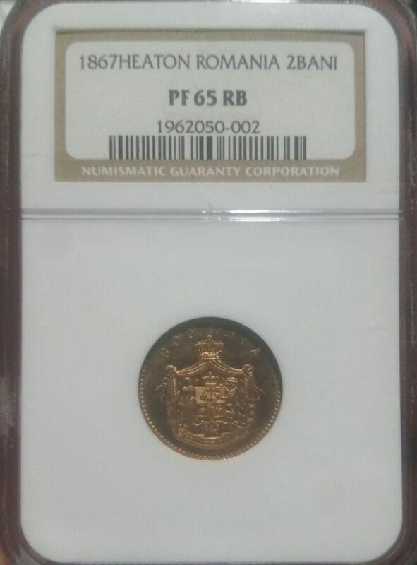 1867 2 Bani Romania. NGC  PF 65RB