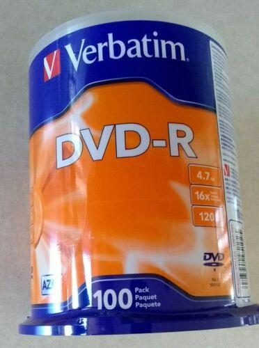 Verbatim 95102 DVD-R 4.7GB 100 Count Sealed