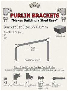 Skillion Shed 6inch C Section Purlin Bracket Set-Garage-Farm-Barn-Steel Plate