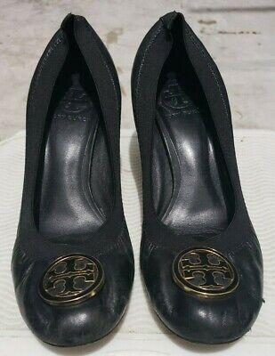 Tory Burch Black Leather Shoes, Ballet Cap Toe, Kitten Heels, US Size 8M