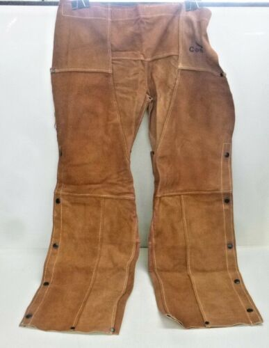 """NEW! CONDOR 40"""" Long Leather Welding Chaps, Brown, 4KHX6"""
