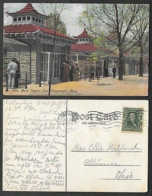 1908 Ohio Postcard - Cincinnati Zoo - Bird Cages