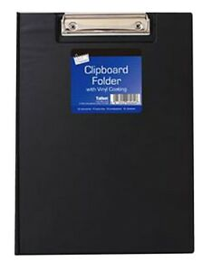 A4 Vinyl Clipboard Metal Clip Quality Cover Folder Documents File Assorted Color