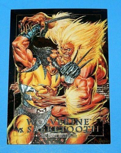 1992 Marvel Masterpieces Wolverine vs Sabretooth Foil Card