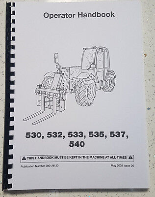 JCB 530 532 533 535 537 540 OPERATOR MANUAL REPRINTED COMB BOUND