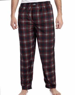 Schwarze Fleece Pyjama-hosen (Jockey Flanell Herren Fleece Pyjama Hose Schwarz; Rot Kariert Größe L Nwt)