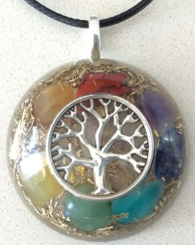 NEW Orgone Energy Pendant Tree Of Life & Seven Chakra Healing Stones MADE IN USA