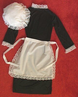 CHILDS VICTORIAN MAID COSTUME GIRLS WAITRESS APRON -  MOP HAT- DRESS,  (Girl Costume Dress Hat Apron)
