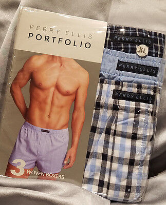 Perry Ellis 3-Pk Woven Boxers XL Navy & Blue Plaid, Solid 100% Cotton SHIPS FREE Solid Woven Boxer
