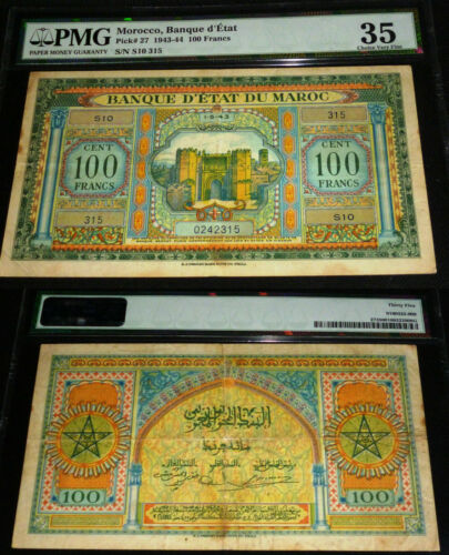 MOROCCO 100 FRANCS, 1943-44, PMG 35 - PICK #27