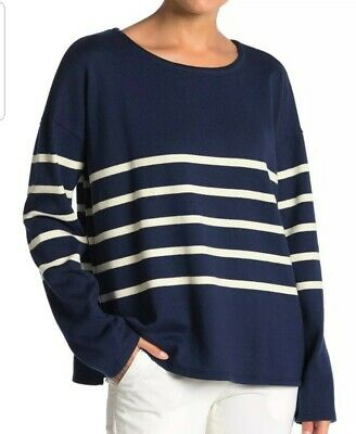 New XL Eileen Fisher Denim navy white stripe Top Striped Sweater  NWT $158