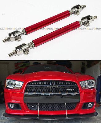 Track Splitters (Red Adjustable Front Bumper Lip Splitter Strut Rod Tie Support Bar For)